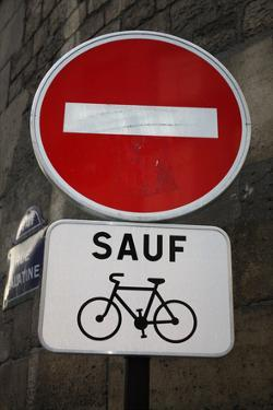 Paris France Sauf Biking Sign Art Print Poster