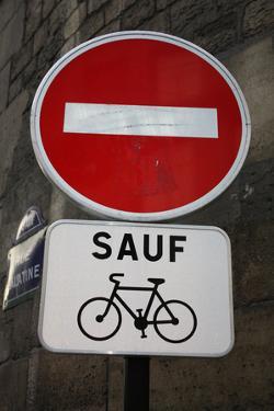 Paris France Sauf Biking Sign Art Print Poster