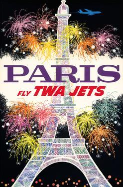 Paris, France - Trans World Airlines Fly TWA Jets - Fireworks at Eiffel Tower