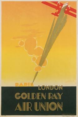 Paris London Golden Ray Air Union Poster