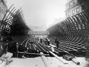 Paris Metro at Place Saint-Michel: Caisson Prior to Its Being Placed in the River Seine, c.1906