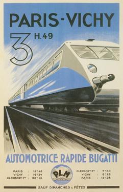Paris to Vichy Train Poster