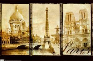 Paris (Triptych, Sacre Couer, Eiffel Tower, Notre Dame) Art Poster Print
