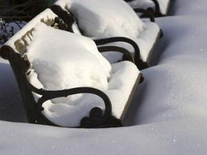 Park Benches Covered in Deep Winter Snow