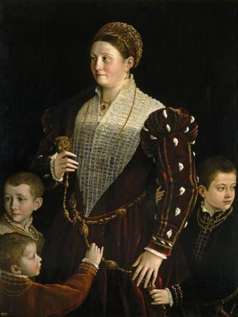 Camilla Gonzaga, Countess of San Segundo, and Her Sons, 1535-1537 by Parmigianino
