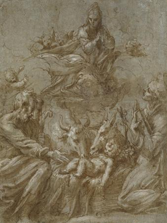 The Nativity of Christ (Pen and Brown Ink Washed in Grey and Heightened with White Bodycolour on Bl