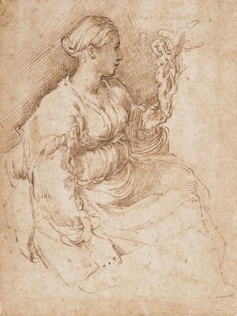 Woman Seated Holding a Statuette of Victory, C.1524