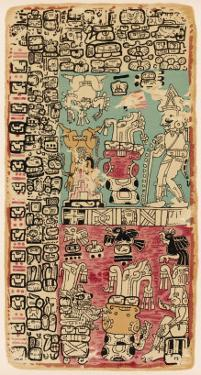 Part of a Calendar Used by Maya Priests, Depicting Gods and Symbolic Creatures