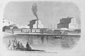Part of the Illinois Central Railroad Depot at Chicago Magazine Illustration Published in Harper's