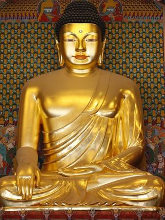 Statue of Sakyamuni Buddha in Main Hall of Jogyesa Temple by Pascal Deloche
