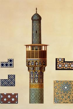 A Minaret and Ceramic Details from the Mosque of the Medrese-I-Shah-Hussein, Isfahan by Pascal Xavier Coste