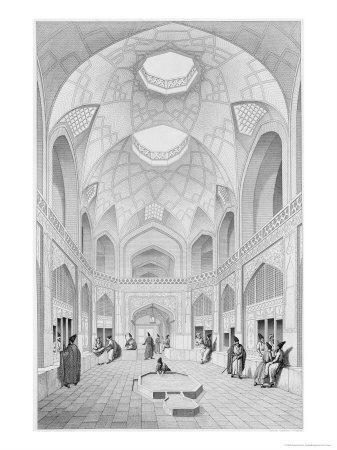 Adji Seid Hussein Bazaar, in Kashan, Voyage Pittoresque of Persia, Engraved by Louis Felix Penel