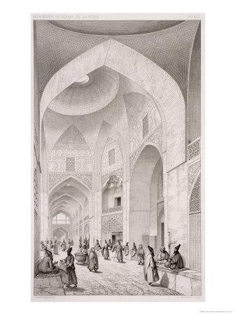 Cloth Market, in Isfahan, from Voyage Pittoresque of Persia, Engraved by Claude Sauvageot