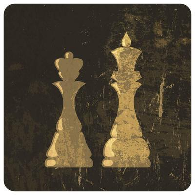 Grunge Illustration Of King And Queen Chess Figures