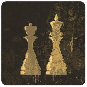 Grunge Illustration Of King And Queen Chess Figures by pashabo