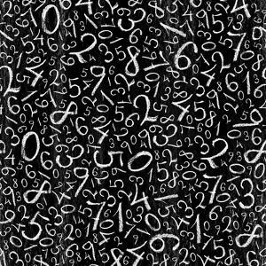 Seamless Pattern: Simple Numbers On Blackboard Background by pashabo