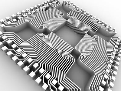 Microprocessor Chip, Computer Artwork