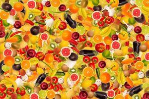 Different Types Of Fruit And Vegetables As Background, Colorful by pasiphae