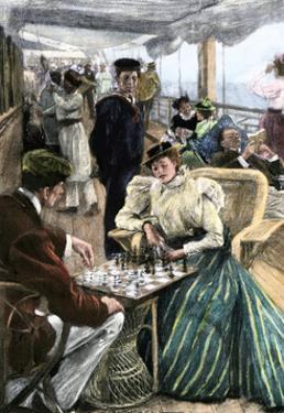 Passengers' Afternoon Recreation on the Deck of a P & O Steamship Circa 1900