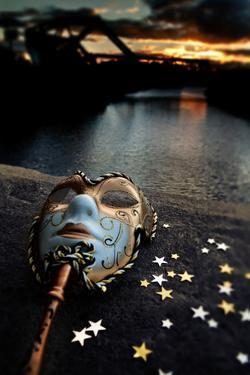 Venetian Mask By The River Bridge With Sunset by passigatti