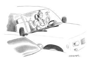 A Hindu god with six arms multi-tasks while driving. - New Yorker Cartoon by Pat Byrnes