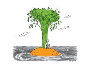 A man on a desert island that's actually a giant carrot, being circled by ... - New Yorker Cartoon by Pat Byrnes