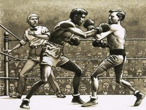 Jimmy Wilde Boxing Pancho Villa in New York by Pat Nicolle