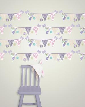 Patchwork Daisy Stripes Wall Decal Sticker