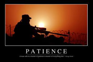 patience inspirational quote and motivational poster