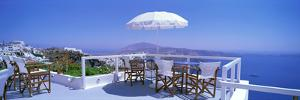 Patio Overlooking Aegean Sea Santorini Greece
