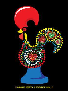 Portuguese Rooster Black by Patricia Pino