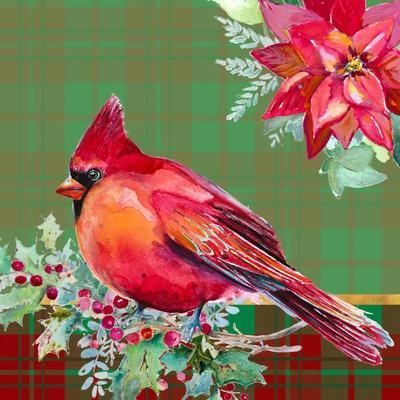 Holiday Poinsettia and Cardinal on Plaid I