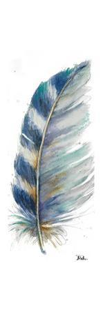 Watercolor Feather White V by Patricia Pinto