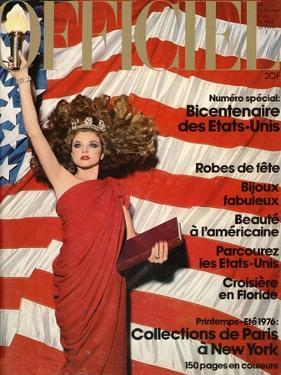 L'Officiel, December 1975 - Robe de Pierre Cardin en Crêpe Rouge d'Abraham, Bijoux de M. Gérard by Patrick Bertrand