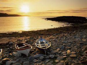 Boats on Norwick Beach at Sunrise, Unst, Shetland Islands, Scotland, United Kingdom, Europe by Patrick Dieudonne