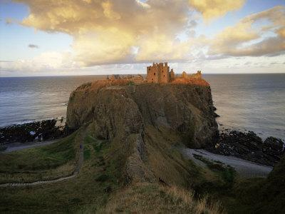 Dunnottar Castle, Dating from the 14th Century, at Sunset, Aberdeenshire, Scotland, United Kingdom