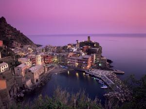 Vernazza Harbour at Dusk, Vernazza, Cinque Terre, UNESCO World Heritage Site, Liguria, Italy by Patrick Dieudonne