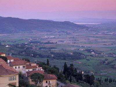 View from the Medieval Town of Cortona Towards Lago Trasimeno, at Sunset, Cortona, Tuscany, Italy