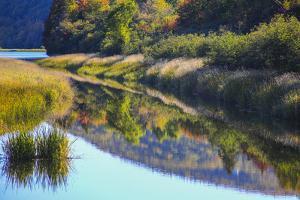 Canada, Nova Scotia, Cape Breton, Cabot Trail, Margaree river reflections by Patrick J. Wall