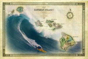 A 1876 Centennial Map of the Hawaiian Islands Depicting a Surfer on the Waves of Maui by Patrick McFeeley