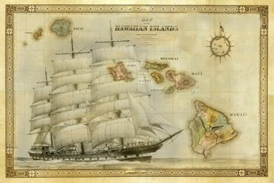 A 1876 Centennial Map of the Hawaiian Islands with Artwork of a Sailing Ship by Patrick McFeeley