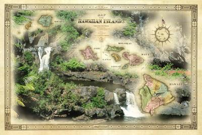 A 1876 Centennial Map of the Hawaiian Islands with Artwork of the Seven Pools by Patrick McFeeley