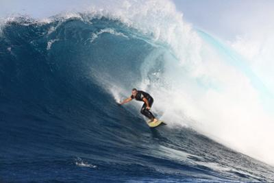 Garrett Mcnamara, Big Wave Surfer, Surfing Down a Wave Face at Jaws by Patrick McFeeley