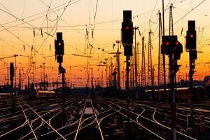 Railroad Tracks At Sunset by Patrick Poendl
