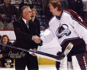 Patrick Roy with  Rogatien Vachon 1000th Game