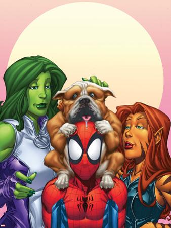 Marvel Adventures Super Heroes No.13 Cover: Spider-Man, She-Hulk and Tigra