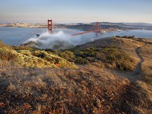 Fog Partially Enveloping the Golden Gate Bridge over San Francisco Bay by Patrick Smith