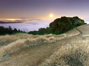 Full Moonrise at Sunset, Mt. Tamalpais, California, USA by Patrick Smith