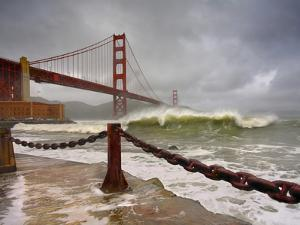 Large Storm Waves in San Francisco Bay under the Golden Gate Bridge About to Batter the Shore by Patrick Smith