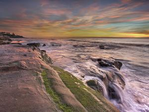 The Wave Eroded Sandstone Rocks on the Coast of La Jolla Near San Diego, California, USA at Sunset by Patrick Smith